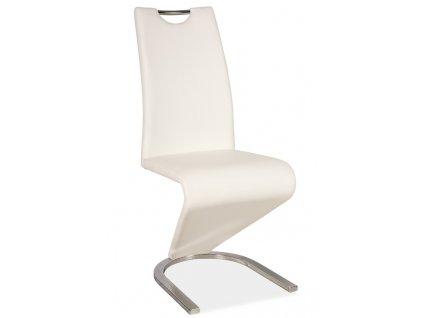 Jídelní čalouněná židle H-090 bílá/chrom