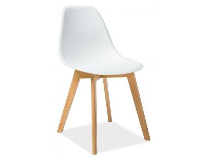 Jídelní židle MORIS bílá/buk