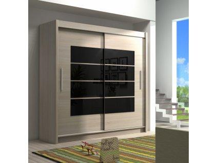 Šatní skříň VANCOUVER 180 sonoma/černé sklo