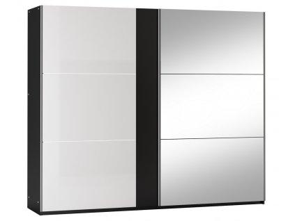 Šatní skříň SACRAMENTO 250 černá/bílá lesk