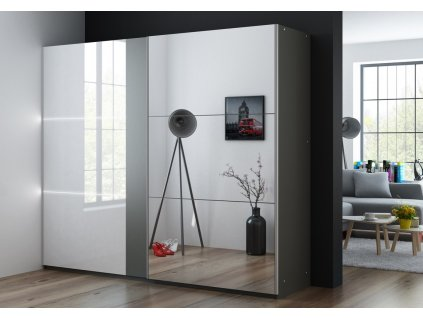 Šatní skříň SACRAMENTO 250 grafit/bílá lesk