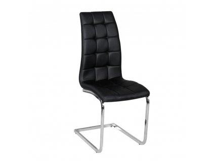 Jídelní židle, černá ekokůže, chrom, DULCIA