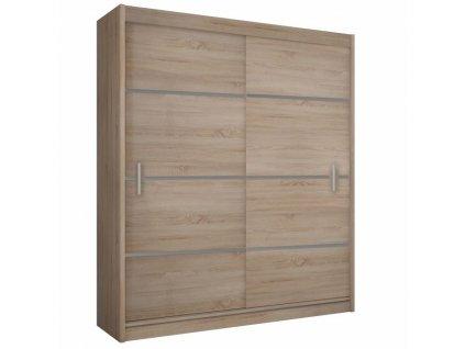 Skříň s posuvnými dveřmi, dub sonoma / šedá, Merina 150
