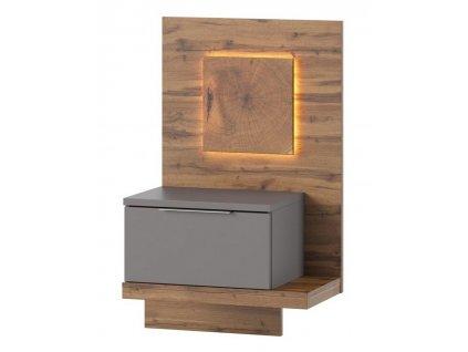 Noční stolek LIVORNO 69 pravý dub wotan/šedá