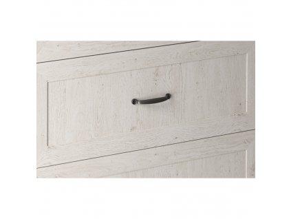 Horní skříňka se sklem, bílá / sosna skandinávská, pravá, ROYAL G30S