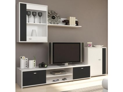 Obývací stěna, bílá / černá, GENTA