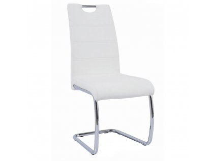 Jídelní židle, bílá ekokůže, světlé šití / chrom, ABIRA NEW