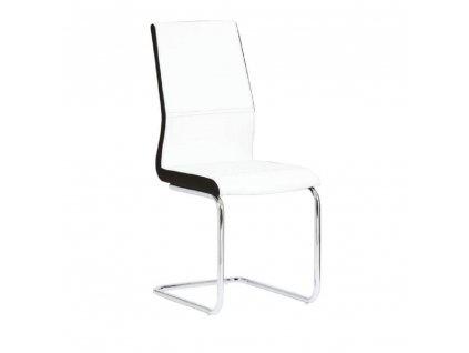 Židle, ekokůže bílá / černá + chrom, Neana