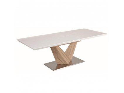 Jídelní stůl, bílá extra vysoký lesk HG/dub sonoma, DURMAN