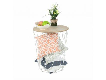 Příruční stolek, přírodní/bílá, NANCER TYP 3