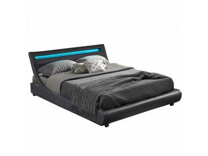 Manželská postel s RGB LED osvětlením, černá, 180x200, FELINA