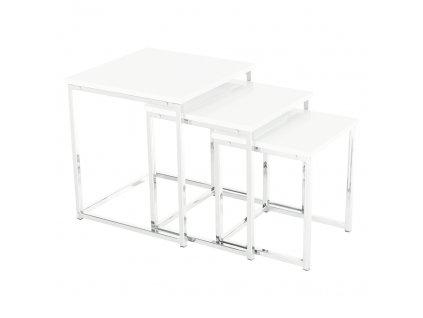 Konferenční stolky, set 3 ks, bílá extra vysoký lesk, ENISA TYP 3
