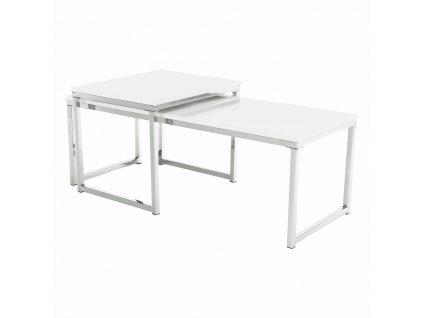 Konferenční stolky, set 2 ks, bílá extra vysoký lesk, ENISA TYP 2