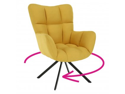 Designové otočné křeslo, žlutá/černá, KOMODO