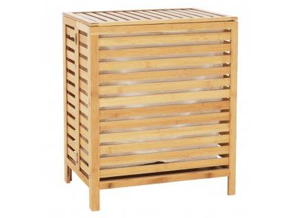 Kôš na bielizeň, prírodný bambus / biela, MENORK