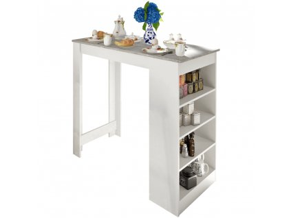 Barový stůl, bílá / beton, Austen