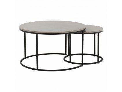 Konferenční stolky, set 2 ks, beton/černá, IKLIN