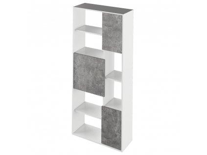 Regál, bílá/ beton, ULIMI