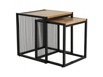 Konferenční stolky, set 2 ks, dub / černý, RIMBO