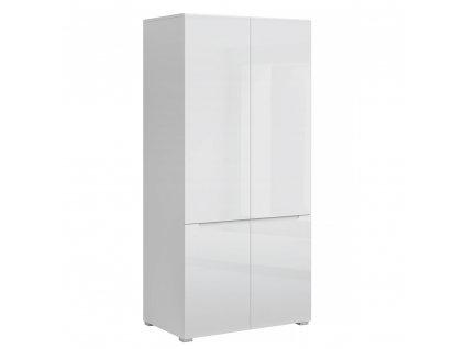 Věšáková skříň 4D, bílá/bílý extra vysoký lesk HG, JOLK