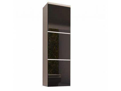 Skříňka vysoká, bílá / černý extra vysoký lesk HG, MASON BL11