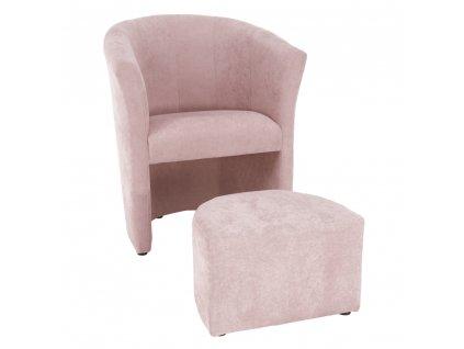 Křeslo s taburetem, pudrová růžová, ROSE