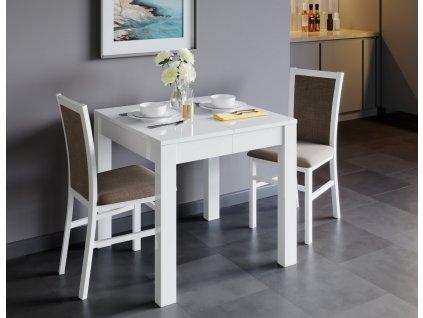 Jídelní stůl rozkládací LIONI bílá lesk