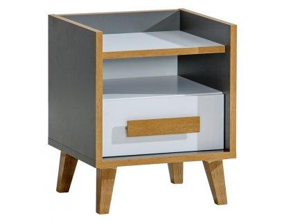 Noční stolek NAPOLA 11 antracit/bílá/dub riviera
