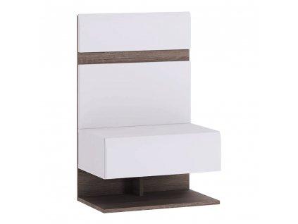 Noční stolek, bílá extra vysoký lesk HG / dub sonoma tmavý truflový, LYNATET TYP 95