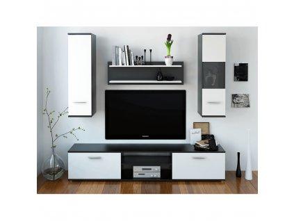 Obývací stěna, černá / bílá, WAW