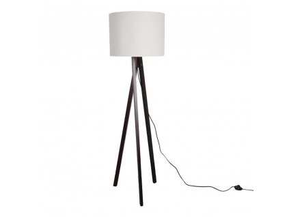 Stojací lampa, bílá / dřevo černé, LILA TYP 9