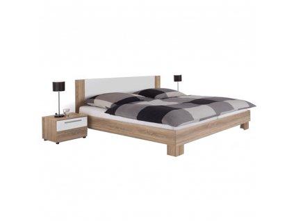Manželská postel, s 2 nočními stolky, dub sonoma / bílá, 180x200, MARTINA