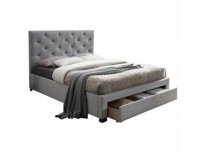 Moderní postel s úložným prostorem, šedá látka, 180x200, SantoIa