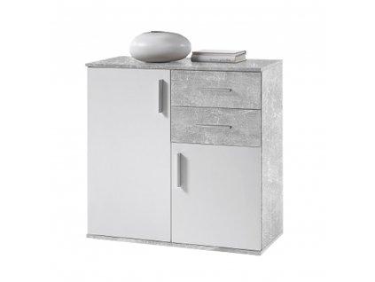 Komoda, bílá / beton, POPPY 4
