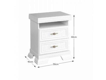 Noční stolek KSN, dvě zásuvky, sosna andersen, KORA
