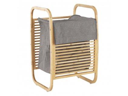 Koš na prádlo, přírodní bambus/šedá, POKO