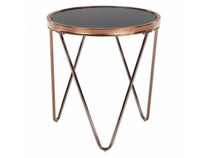 Příruční stolek, rose gold chrom růžová / černá, VALERO