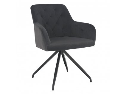 Otočná židle, tmavě šedá Velvet látka/černá, VELEZA