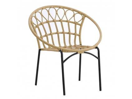 Zahradní židle, přírodní / černá, ELDIA