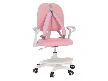 Rostoucí židle s podnoží a šlemi, růžová / bílá, ANAIS