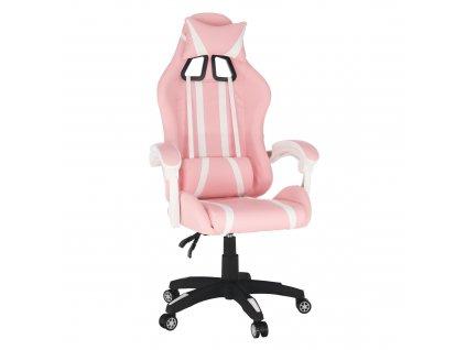 Kancelářské/herní křeslo, růžová/bílá, PINKY