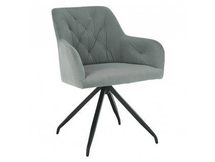 Otočná židle, šedá Velvet látka/černá, VELEZA