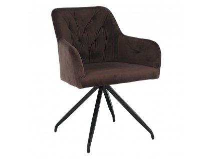 Otočná židle, hnědá Velvet látka/černá, VELEZA