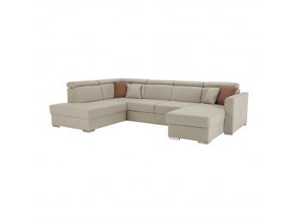 Luxusní sedací souprava, béžová / cihlová, levá, MARIETA U