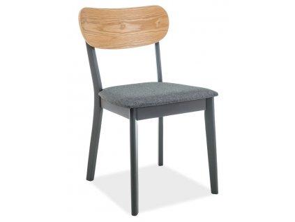 Jídelní čalouněná židle VITRO šedá/dub/grafit