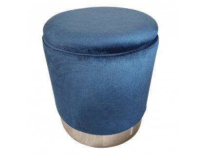 Taburet s úložným prostorem, modrá Velvet látka / stříbrná chrom, Daron