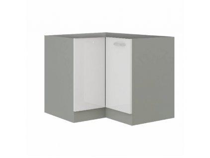 Skříňka dolní, bílá extra vysoký lesk / šedá, PRADO 90/90 DN BB