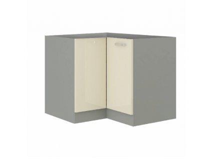 Skříňka dolní, krémová extra vysoký lesk/šedá, PRADO 90/90 DN BB