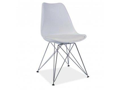 Židle, bílá + chrom, METAL 2 NEW