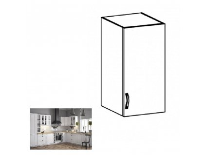 Horní skříňka G40, pravá, bílá / sosna andersen, PROVANCE